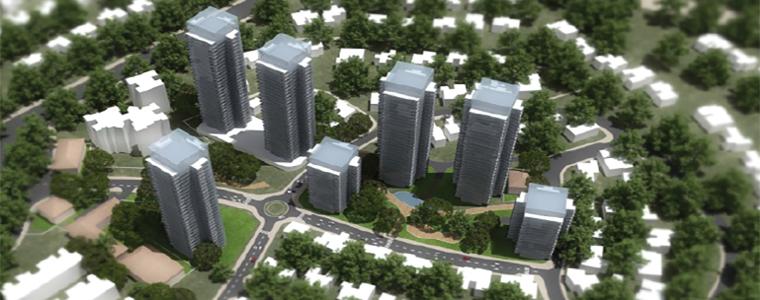 הדמיה בנינים גבוהים, נמוכים וכבישים
